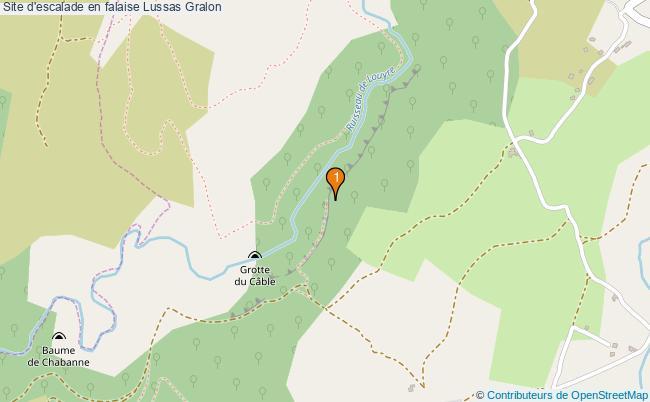 plan Site d'escalade en falaise Lussas : 1 équipements