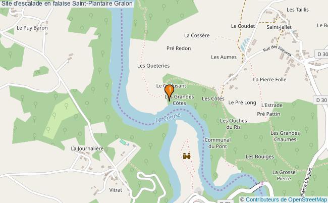 plan Site d'escalade en falaise Saint-Plantaire : 1 équipements