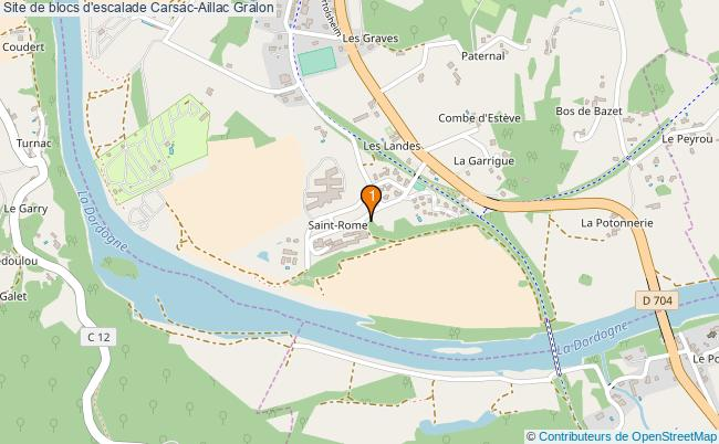 plan Site de blocs d'escalade Carsac-Aillac : 1 équipements