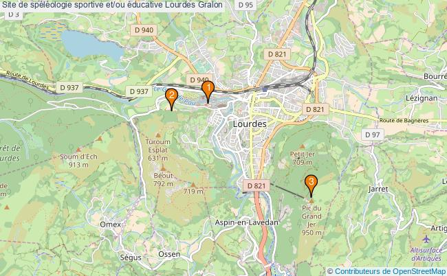 plan Site de spéléologie sportive et/ou éducative Lourdes : 3 équipements