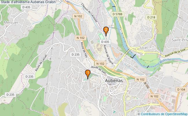 plan Stade d'athlétisme Aubenas : 2 équipements
