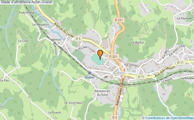 plan Stade d'athlétisme Aubin : 1 équipements