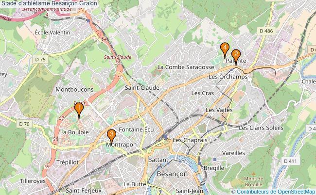 plan Stade d'athlétisme Besançon : 4 équipements