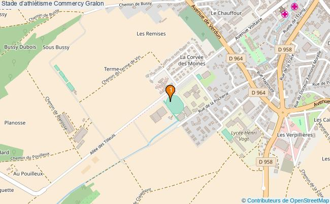 plan Stade d'athlétisme Commercy : 1 équipements