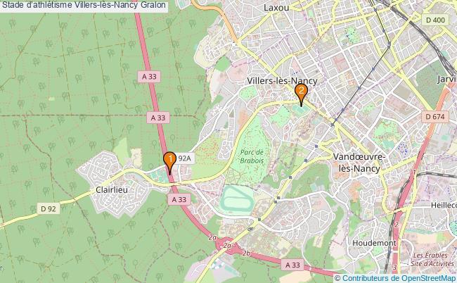 plan Stade d'athlétisme Villers-lès-Nancy : 2 équipements