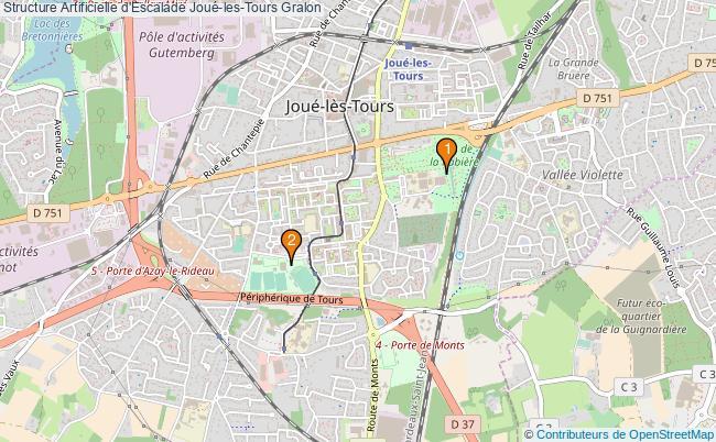 plan Structure Artificielle d'Escalade Joué-les-Tours : 2 équipements