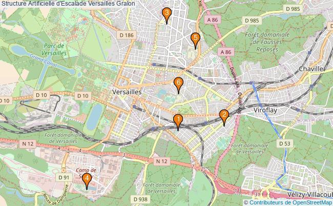 plan Structure Artificielle d'Escalade Versailles : 6 équipements