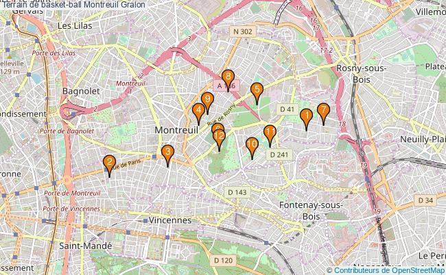 plan Terrain de basket-ball Montreuil : 12 équipements