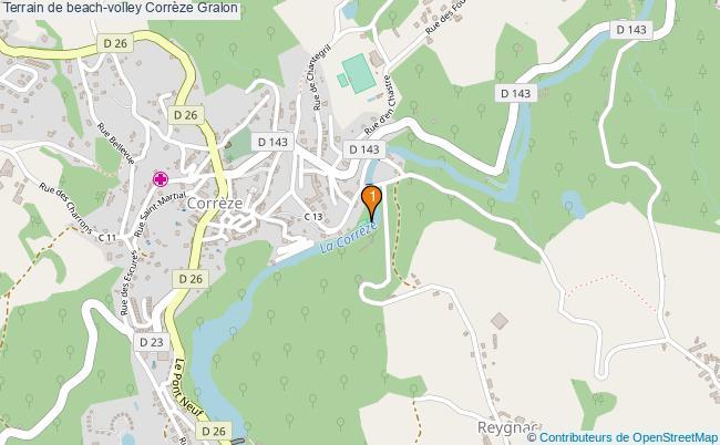 plan Terrain de beach-volley Corrèze : 1 équipements
