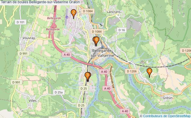 plan Terrain de boules Bellegarde-sur-Valserine : 6 équipements