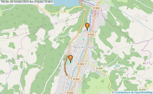 plan Terrain de boules Bort-les-Orgues : 2 équipements