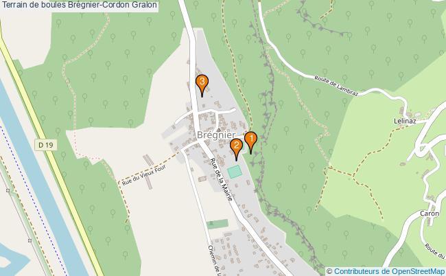 plan Terrain de boules Brégnier-Cordon : 3 équipements