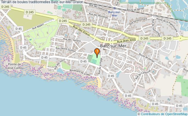 plan Terrain de boules traditionnelles Batz-sur-Mer : 1 équipements