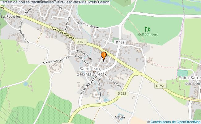 plan Terrain de boules traditionnelles Saint-Jean-des-Mauvrets : 1 équipements