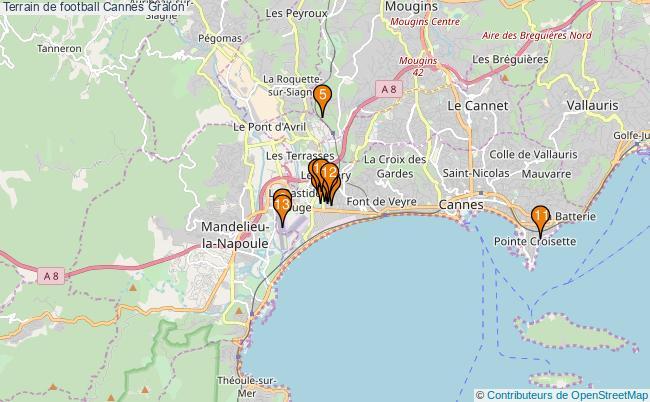 plan Terrain de football Cannes : 13 équipements