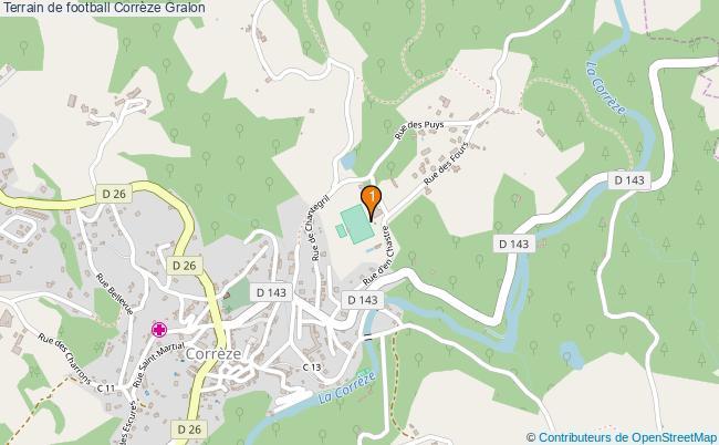 plan Terrain de football Corrèze : 1 équipements