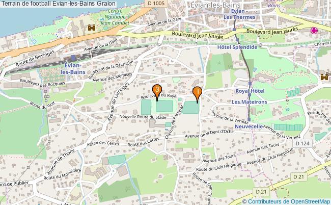 plan Terrain de football Evian-les-Bains : 3 équipements