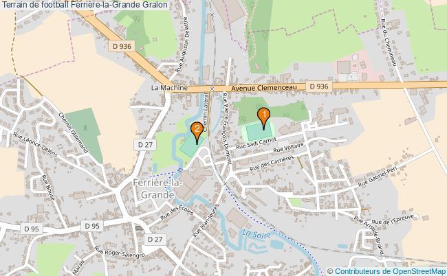 plan Terrain de football Ferrière-la-Grande : 2 équipements
