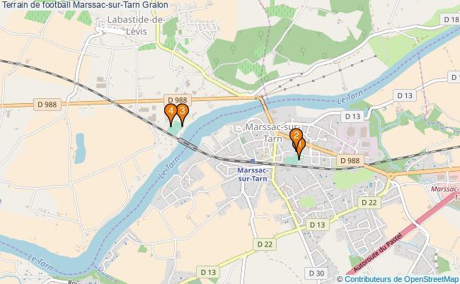 plan Terrain de football Marssac-sur-Tarn : 4 équipements