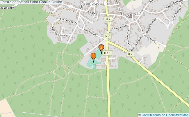 plan Terrain de football Saint-Gobain : 2 équipements