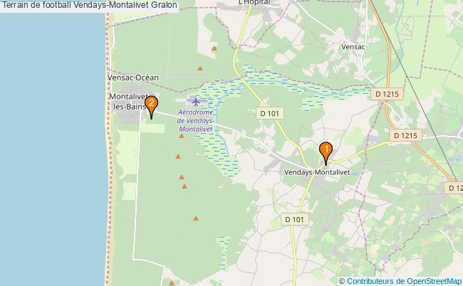 plan Terrain de football Vendays-Montalivet : 2 équipements