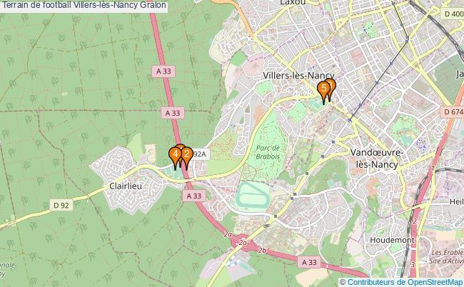 plan Terrain de football Villers-lès-Nancy : 5 équipements