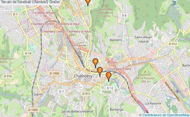 plan Terrain de handball Chambéry : 4 équipements