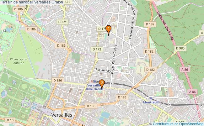 plan Terrain de handball Versailles : 2 équipements
