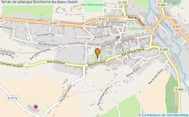 plan Terrain de pétanque Bourbonne-les-Bains : 1 équipements