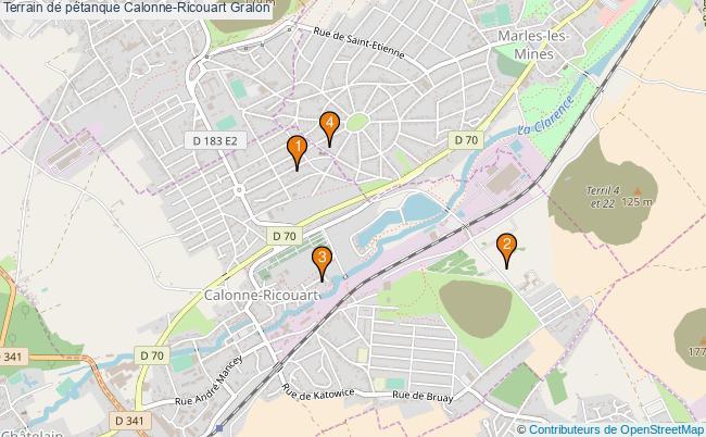 plan Terrain de pétanque Calonne-Ricouart : 4 équipements