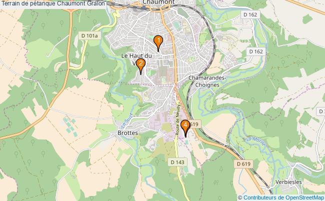 plan Terrain de pétanque Chaumont : 4 équipements