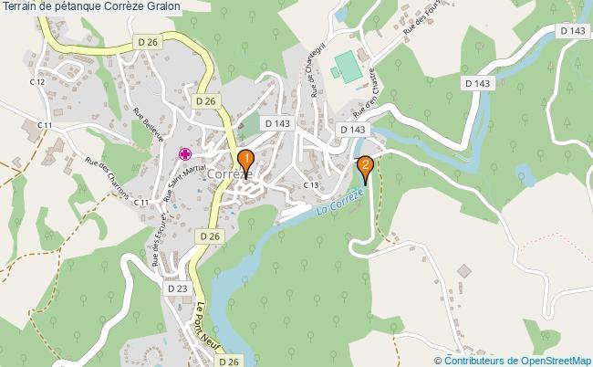 plan Terrain de pétanque Corrèze : 2 équipements