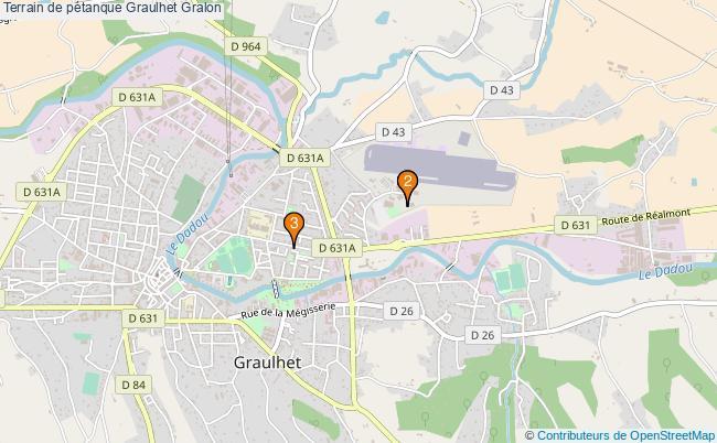 plan Terrain de pétanque Graulhet : 3 équipements