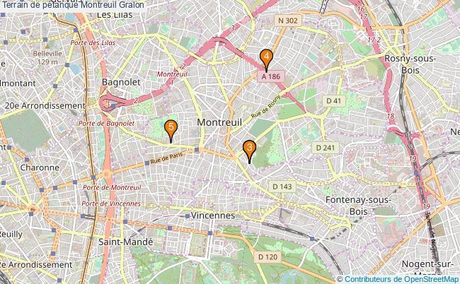 plan Terrain de pétanque Montreuil : 5 équipements