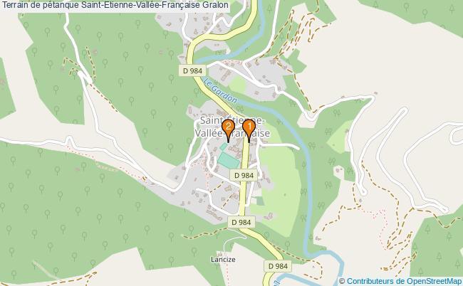 plan Terrain de pétanque Saint-Etienne-Vallée-Française : 2 équipements