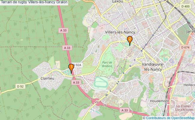plan Terrain de rugby Villers-lès-Nancy : 2 équipements