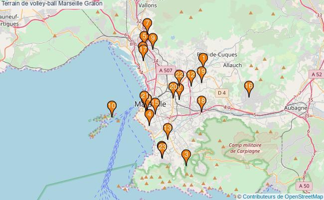 plan Terrain de volley-ball Marseille : 23 équipements