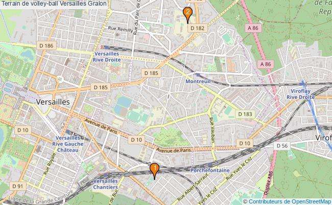 plan Terrain de volley-ball Versailles : 2 équipements