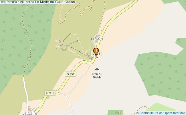 plan Via ferrata / Via corda La Motte-du-Caire : 1 équipements