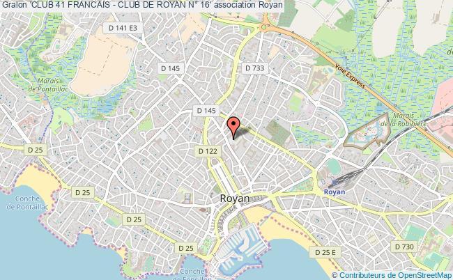 plan association 'club 41 Francais - Club De Royan N° 16' Royan