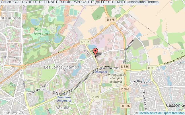 """plan association """"collectif De Defense Desbois-papegault"""" (ville De Rennes) Rennes"""