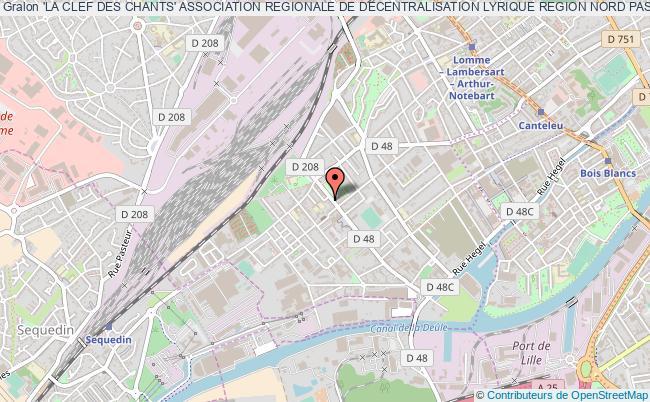 plan association 'la Clef Des Chants' Association Regionale De Decentralisation Lyrique Region Nord Pas-de-calais Lille