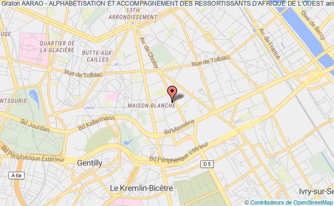 plan association Aarao - Alphabetisation Et Accompagnement Des Ressortissants D'afrique De L'ouest Paris 13e