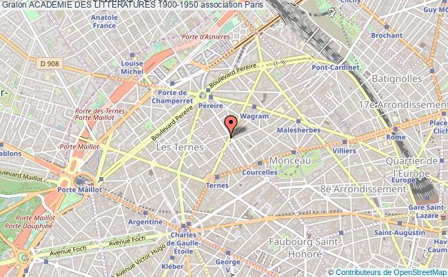 plan association Academie Des Litteratures 1900-1950 Paris