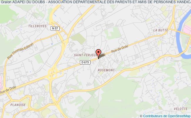 plan association Adapei Du Doubs - Association DÉpartementale Des Parents Et Amis De Personnes HandicapÉes Mentales