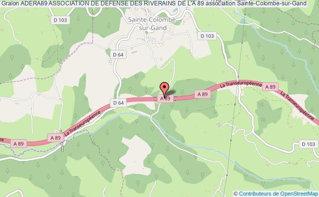 plan association Adera89 Association De Defense Des Riverains De L'a 89 Sainte-Colombe-sur-Gand