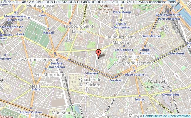 plan association Adl . 48 : Amicale Des Locataires Du 48 Rue De La Glaciere 75013 Paris
