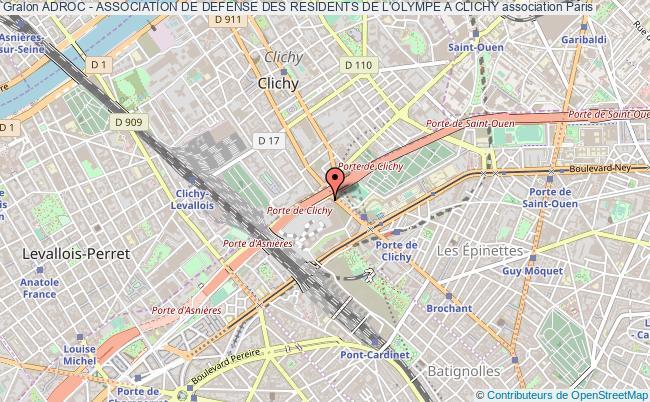 plan association Adroc - Association De Defense Des Residents De L'olympe A Clichy