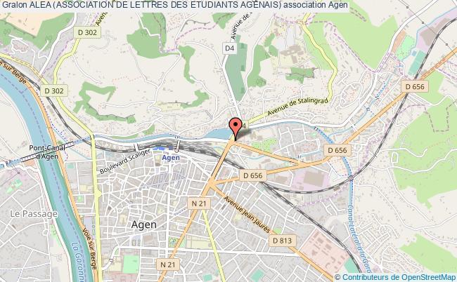 plan association Alea (association De Lettres Des Etudiants Agenais)