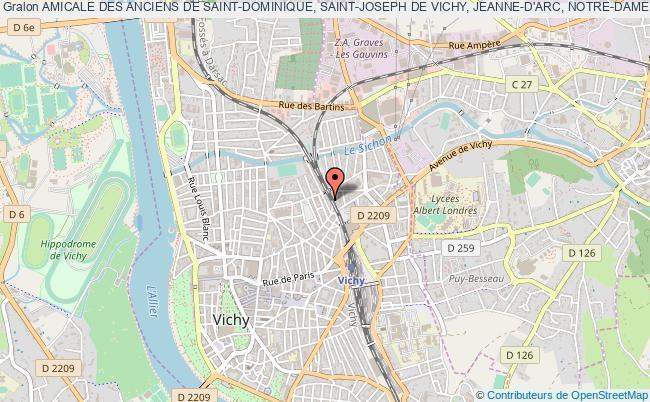 plan association Amicale Des Anciens De Saint-dominique, Saint-joseph De Vichy, Jeanne-d'arc, Notre-dame De Lourdes De Vichy, Saint-joseph, Notre-dame De Cusset